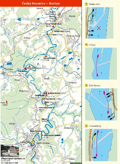 Mapa Vltavy - Vyšší Brod - Český Krumlov