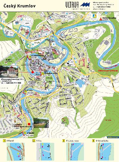 Mapa Vltavy - Český Krumlov