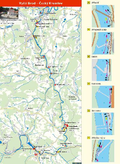Map of the Vltava River - Vyšší Brod - Český Krumlov